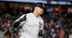 NEW YORK, NEW YORK - OCTOBER 17: Gary Sanchez #24 of the New York Yankees rounds the bases as he hits a two-run home run against the Houston Astros during the sixth inning in game four of the American League Championship Series at Yankee Stadium on October 17, 2019 in New York City.
