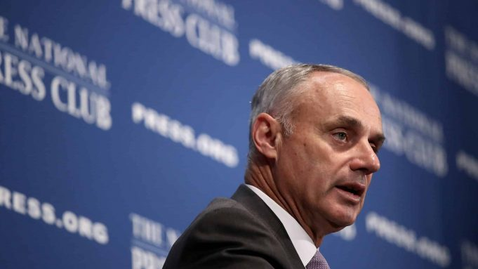 WASHINGTON, DC - JULY 16: Major League Baseball Commissioner Rob Manfred speaks at the National Press Club July 16, 2018 in Washington, DC. The MLB All-Star game will be held tomorrow at Nationals Park.