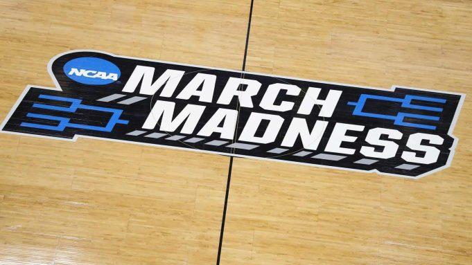 NCAA SALT LAKE CITY, UTAH - MARCH 20: A general view of an 'NCAA March Madness' logo is seen during practice before the First Round of the NCAA Basketball Tournament at Vivint Smart Home Arena on March 20, 2019 in Salt Lake City, Utah.