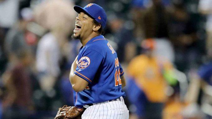 NEW YORK, NEW YORK - MAY 20: Dominic Smith #22 of the New York Mets celebrates the win over the Washington Nationals at Citi Field on May 20, 2019 in the Flushing neighborhood of the Queens borough of New York City.The New York Mets defeated the Washington Nationals 5-3.