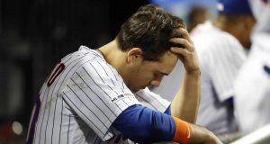 NEW YORK, NEW YORK - JUNE 04: Michael Conforto #30 of the New York Mets reacts in the dugout after striking out against the San Francisco Giants during the eighth inning at Citi Field on June 04, 2019 in New York City.