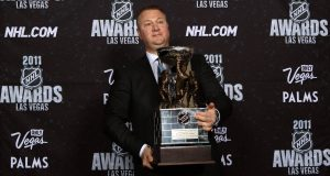 LAS VEGAS, NV - JUNE 22: General Manager Mike Gillis of the Vancouver Canucks poses after winning the NHL General Manager of the Year Award during the 2011 NHL Awards at The Pearl concert theater at the Palms Casino Resort June 22, 2011 in Las Vegas, Nevada.