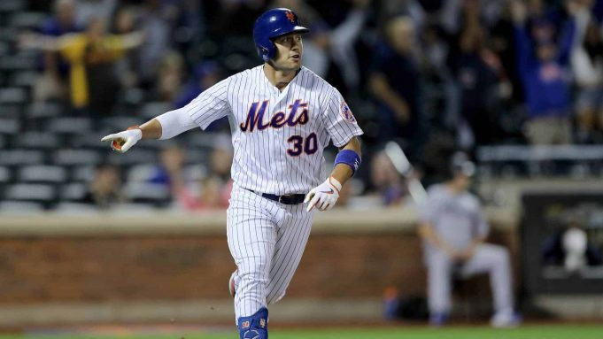 NEW YORK, NEW YORK - SEPTEMBER 24: Michael Conforto #30 of the New York Mets celebrates his two run home run in the bottom of the ninth inning to tie the game against the Miami Marlins at Citi Field on September 24, 2019 in the Flushing neighborhood of the Queens borough of New York City.