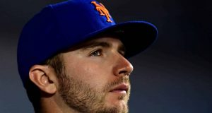 NEW YORK, NEW YORK - SEPTEMBER 25: Pete Alonso #20 of the New York Mets looks on during their game against the Miami Marlins at Citi Field on September 25, 2019 in the Flushing neighborhood of the Queens borough in New York City.
