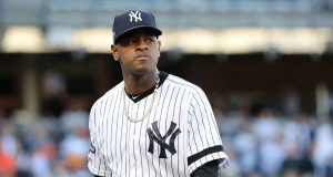 NEW YORK, NEW YORK - OCTOBER 15: Luis Severino #40 of the New York Yankees reacts after pitching in the first inning against the Houston Astros in game three of the American League Championship Series at Yankee Stadium on October 15, 2019 in New York City.