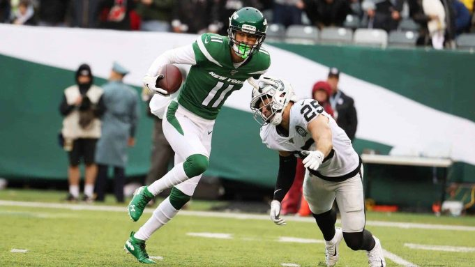 EAST RUTHERFORD, NEW JERSEY - NOVEMBER 24: Robby Anderson #11 of the New York Jets in action against the Oakland Raiders during their game at MetLife Stadium on November 24, 2019 in East Rutherford, New Jersey.