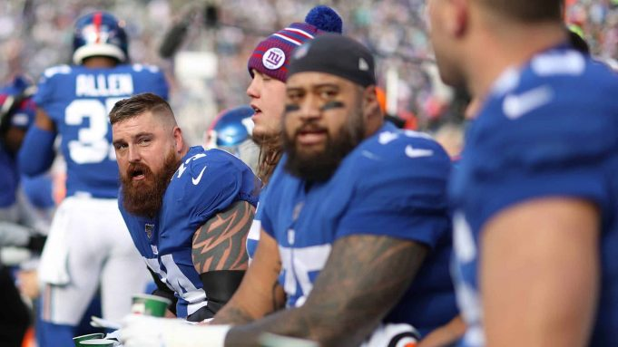EAST RUTHERFORD, NEW JERSEY - DECEMBER 15: Mike Remmers #74 of the New York Giants looks on against the Miami Dolphins during their game at MetLife Stadium on December 15, 2019 in East Rutherford, New Jersey.