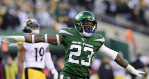 EAST RUTHERFORD, NEW JERSEY - DECEMBER 22: Arthur Maulet #23 of the New York Jets celebrates a turnover on downs as they defeat the Pittsburgh Steelers 16-10 at MetLife Stadium on December 22, 2019 in East Rutherford, New Jersey.