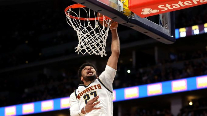 DENVER, COLORADO - JANUARY 11: Jamal Murray #27 of the Denver Nuggets dunks against the Cleveland Cavaliers in the second quarter at the Pepsi Center on January 11, 2020 in Denver, Colorado. NOTE TO USER: User expressly acknowledges and agrees that, by downloading and or using this photograph, User is consenting to the terms and conditions of the Getty Images License Agreement.