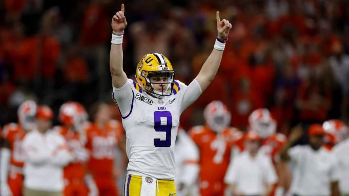 NEW ORLEANS, LOUISIANA - JANUARY 13: Joe Burrow #9 of the LSU Tigers reacts to a touchdown against Clemson Tigers during the third quarter in the College Football Playoff National Championship game at Mercedes Benz Superdome on January 13, 2020 in New Orleans, Louisiana. NFL Draft