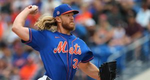 PORT ST. LUCIE, FL - MARCH 08: Pitcher Noah Syndergaard #34 of the New York Mets delivers a pitch against the Houston Astros during the first inning of a spring training baseball game at Clover Park on March 8, 2020 in Port St. Lucie, Florida. The Mets defeated the Astros 3-1.