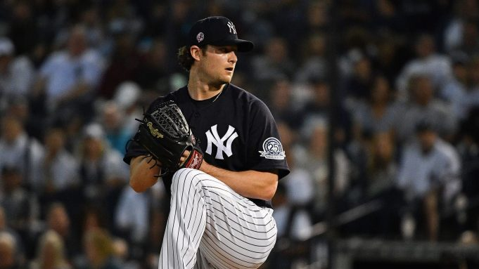 TAMPA, FLORIDA - FEBRUARY 24: Gerrit Cole #45 of the New York Yankees delivers a pitch in the first inning during the spring training game against the Pittsburgh Pirates at Steinbrenner Field on February 24, 2020 in Tampa, Florida.