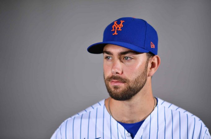 PORT ST. LUCIE, FLORIDA - FEBRUARY 20: David Peterson #77 of the New York Mets poses for a photo during Photo Day at Clover Park on February 20, 2020 in Port St. Lucie, Florida.