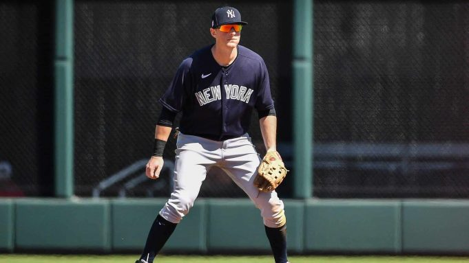 VENICE, FLORIDA - FEBRUARY 28: DJ LeMahieu #26 of the New York Yankees awaits the pitch in the second inning during the spring training game against the Atlanta Braves at Cool Today Park on February 28, 2020 in Venice, Florida.