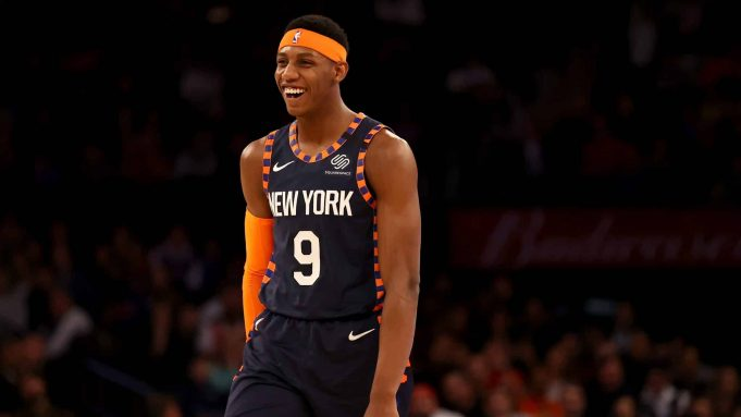 NEW YORK, NEW YORK - FEBRUARY 29: RJ Barrett #9 of the New York Knicks smiles as the clock runs out in the fourth quarter against the Chicago Bulls at Madison Square Garden on February 29, 2020 in New York City.The New York Knicks defeated the Chicago Bulls 125-115.NOTE TO USER: User expressly acknowledges and agrees that, by downloading and or using this photograph, User is consenting to the terms and conditions of the Getty Images License Agreement.