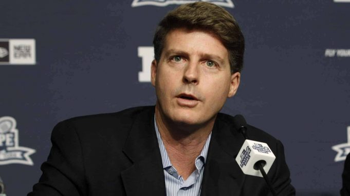 NEW YORK, NY - JUNE 3: Hal Steinbrenner, Managing General Partner of the New York Yankees is seen during a press conference to announce the New Era Pinstripe Bowl's eight-year partnership with the Big Ten Conference at Yankees Stadium on June 3, 2013 in the Bronx borough of New York City.