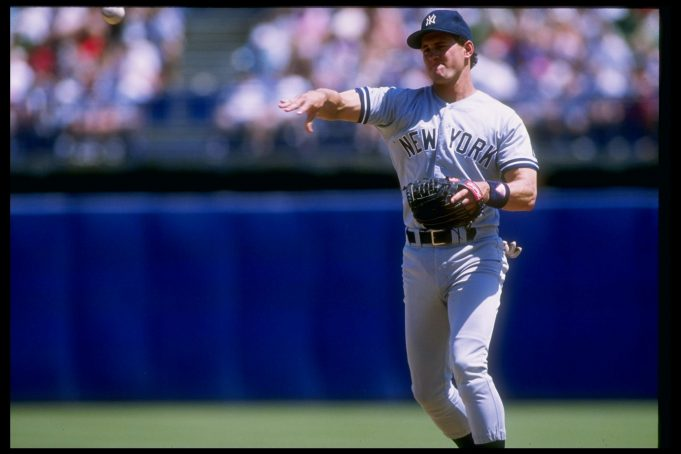 1990: Infielder Steve Sax of the New York Yankees in action during a game.