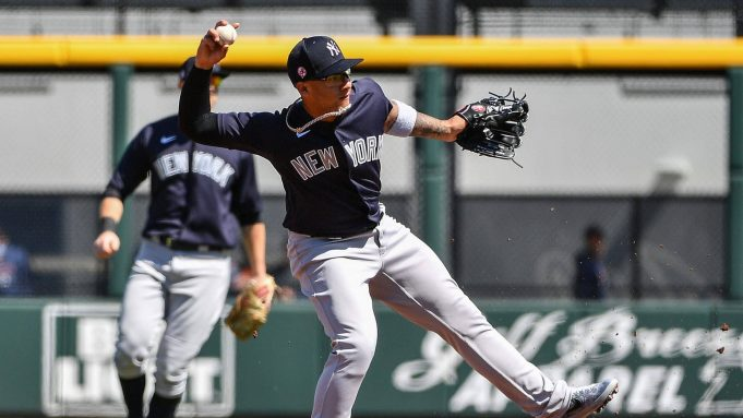 VENICE, FLORIDA - FEBRUARY 28: Gleyber Torres #25 of the New York Yankees makes the throw to first base in the first inning during the spring training game against the Atlanta Braves at Cool Today Park on February 28, 2020 in Venice, Florida.