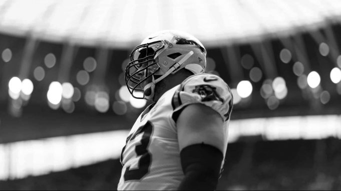 LONDON, ENGLAND - OCTOBER 13: (EDITORS NOTE - This image has been converted to black and white) Greg Van Roten of Carolina Panthers looks on during the NFL game between Carolina Panthers and Tampa Bay Buccaneers at Tottenham Hotspur Stadium on October 13, 2019 in London, England.