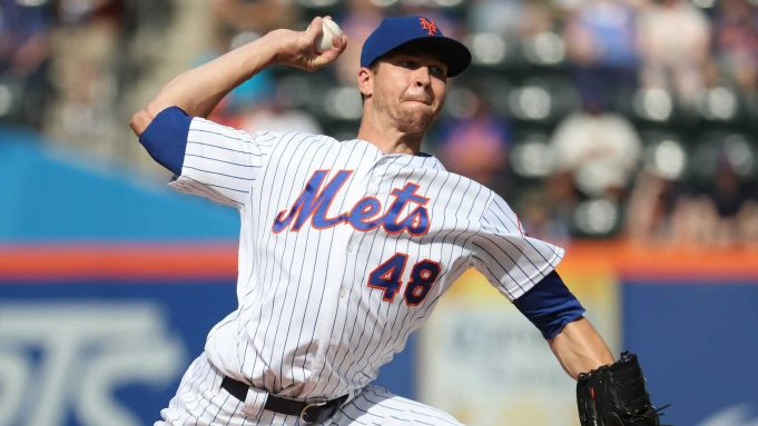 NEW YORK, NEW YORK - AUGUST 05: Jacob deGrom #48 of the New York Mets pitches against the Miami Marlins during their game at Citi Field on August 05, 2019 in New York City.