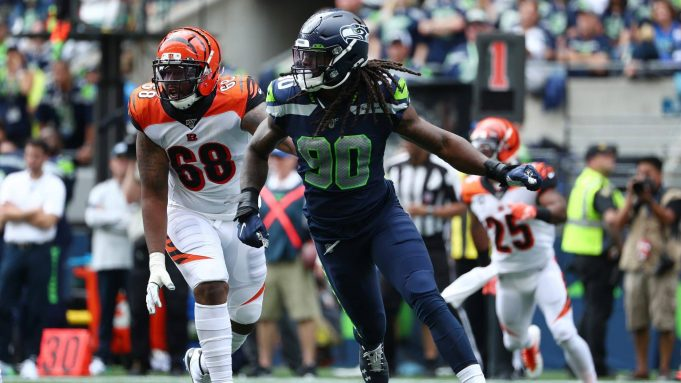 SEATTLE, WASHINGTON - SEPTEMBER 08: Jadeveon Clowney #90 of the Seattle Seahawks in action in the second quarter against the Cincinnati Bengals during their game at CenturyLink Field on September 08, 2019 in Seattle, Washington.