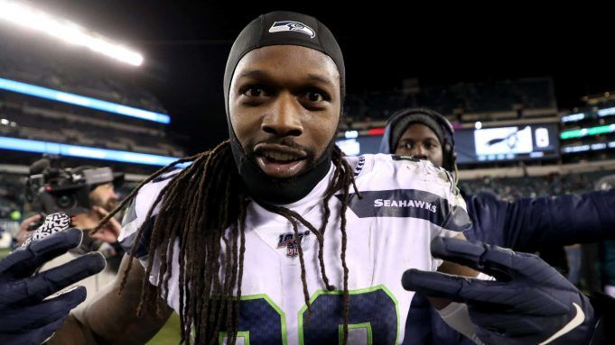 PHILADELPHIA, PENNSYLVANIA - JANUARY 05: Jadeveon Clowney #90 of the Seattle Seahawks celebrates following the Seahawks NFC Wild Card Playoff game win over the Philadelphia Eagles at Lincoln Financial Field on January 05, 2020 in Philadelphia, Pennsylvania.