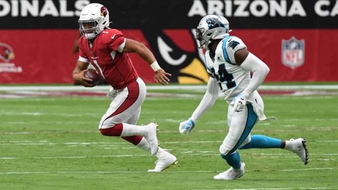 GLENDALE, ARIZONA - SEPTEMBER 22: Kyler Murray #1 of the Arizona Cardinals runs out of the pocket while being chased by James Bradberry #24 of the Carolina Panthers during the first half at State Farm Stadium on September 22, 2019 in Glendale, Arizona.