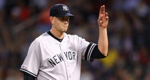 BOSTON, MASSACHUSETTS - SEPTEMBER 09: James Paxton #65 of the New York Yankees acknowledges the crowd after being relieved during the seventh inning of the game between the Boston Red Sox and the New York Yankees at Fenway Park on September 09, 2019 in Boston, Massachusetts.