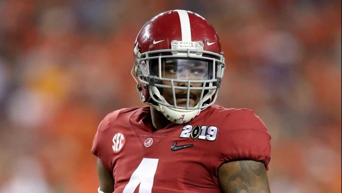 SANTA CLARA, CA - JANUARY 07: Jerry Jeudy #4 of the Alabama Crimson Tide looks on against the Clemson Tigersin the CFP National Championship presented by AT&T at Levi's Stadium on January 7, 2019 in Santa Clara, California.