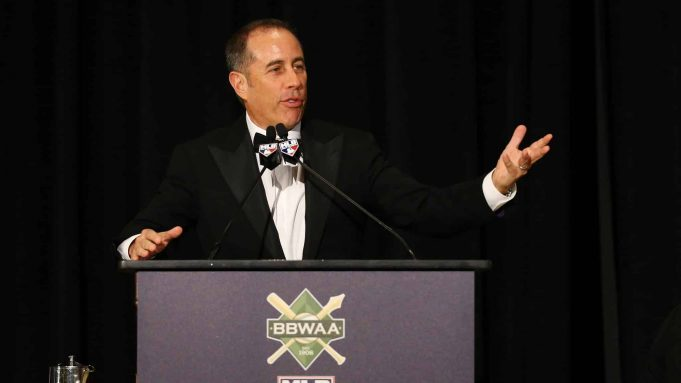 NEW YORK, NEW YORK - JANUARY 25: Jerry Seinfeld speaks prior to presenting Pete Alonso of the New York Mets with the 2019 National League Rookie Of The Year Award during the 97th annual New York Baseball Writers' Dinner on January 25, 2020 Sheraton New York in New York City.