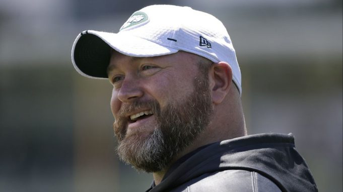 New York Jets general manager Joe Douglas smiles during a practice at the team's training facility in Florham Park, N.J., Tuesday, June 11, 2019.