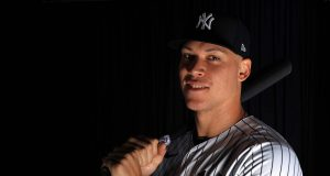 TAMPA, FLORIDA - FEBRUARY 20: Aaron Judge #99 of the New York Yankees poses for a portrait during photo day on February 20, 2020 in Tampa, Florida.