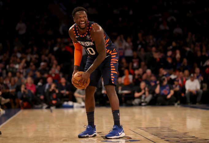 NEW YORK, NEW YORK - FEBRUARY 29: Julius Randle #30 of the New York Knicks smiles in the final minute of the game against the Chicago Bulls at Madison Square Garden on February 29, 2020 in New York City.The New York Knicks defeated the Chicago Bulls 125-115.NOTE TO USER: User expressly acknowledges and agrees that, by downloading and or using this photograph, User is consenting to the terms and conditions of the Getty Images License Agreement.