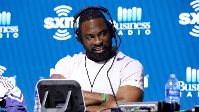 MIAMI, FLORIDA - JANUARY 30: Former NFL player Justin Tuck speaks onstage during day 2 of SiriusXM at Super Bowl LIV on January 30, 2020 in Miami, Florida.