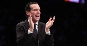 NEW YORK, NEW YORK - JANUARY 18: Head Coach Kenny Atkinson of the Brooklyn Nets shouts instructions against the Milwaukee Bucks during their game at Barclays Center on January 18, 2020 in New York City. NOTE TO USER: User expressly acknowledges and agrees that, by downloading and/or using this photograph, user is consenting to the terms and conditions of the Getty Images License Agreement.
