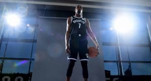 NEW YORK, NEW YORK - SEPTEMBER 27: Kevin Durant #7 of the Brooklyn Nets poses for a photograph during Media Day at HSS Training Center on September 27, 2019 in the Brooklyn borough of New York City. NOTE TO USER: User expressly acknowledges and agrees that, by downloading and or using this photograph, User is consenting to the terms and conditions of the Getty Images License Agreement.