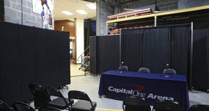 WASHINGTON, DC - MARCH 10: A general view of a new post-game interview area prior to the New York Knicks playing the Washington Wizards at Capital One Arena on March 10, 2020 in Washington, DC. According to the NBA, the league has banned nonessential team personnel from the locker room, including media, because of the coronavirus. NOTE TO USER: User expressly acknowledges and agrees that, by downloading and or using this photograph, User is consenting to the terms and conditions of the Getty Images License Agreement.
