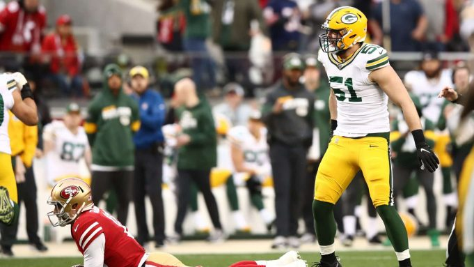 SANTA CLARA, CALIFORNIA - JANUARY 19: Kyler Fackrell #51 of the Green Bay Packers reacts after sacking Jimmy Garoppolo #10 of the San Francisco 49ers in the first half during the NFC Championship game at Levi's Stadium on January 19, 2020 in Santa Clara, California.