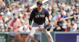FORT MYERS, FLORIDA - FEBRUARY 29: Luke Voit #59 of the New York Yankees in action against the Boston Red Sox of a Grapefruit League spring training game at JetBlue Park at Fenway South on February 29, 2020 in Fort Myers, Florida.