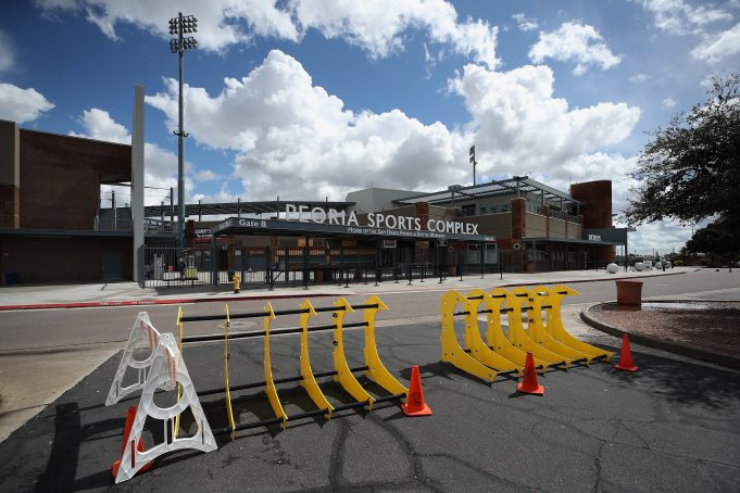 PEORIA, ARIZONA - MARCH 13: Parking barriers and cones are set up outside of Peoria Stadium on March 13, 2020 in Peoria, Arizona. Major League Baseball cancelled spring training games and has delayed opening day by at least two weeks due to COVID-19.