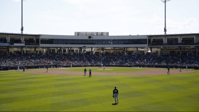 VARIOUS CITIES, - MARCH 12: A general view of FITTEAM Ballpark of The Palm Beaches as the New York Yankees play the Washington Nationals in a Grapefruit League spring training game on March 12, 2020 in West Palm Beach, Florida. MLB suspended spring training due to the ongoing threat of the Coronavirus (COVID-19) outbreak.
