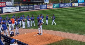 New York Mets Ace Jacob deGrom warming up prior to his spring training debut 2020