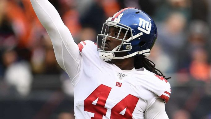 CHICAGO, ILLINOIS - NOVEMBER 24: Markus Golden #44 of the New York Giants celebrates a sack against the Chicago Bears during the first half at Soldier Field on November 24, 2019 in Chicago, Illinois.