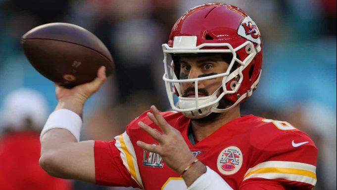 MIAMI, FLORIDA - FEBRUARY 02: Matt Moore #8 of the Kansas City Chiefs warms up in Super Bowl LIV at Hard Rock Stadium on February 02, 2020 in Miami, Florida.