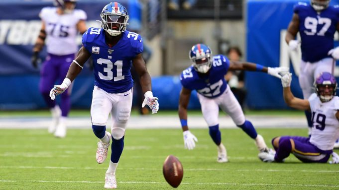 EAST RUTHERFORD, NEW JERSEY - OCTOBER 06: Michael Thomas #31 of the New York Giants watches as the ball lands in the third quarter of their game against the Minnesota Vikings at MetLife Stadium on October 06, 2019 in East Rutherford, New Jersey.