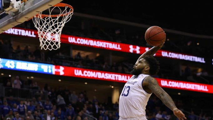 NEWARK, NJ - FEBRUARY 12: Myles Powell #13 of the Seton Hall Pirates goes up for a dunk against the Creighton Bluejays during the second half of a college basketball game at Prudential Center on February 12, 2020 in Newark, New Jersey. Creighton defeated seton Hall 87-82.