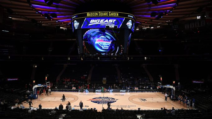 NEW YORK, NEW YORK - MARCH 12: A general view of the arena before the first half between the St. John's Red Storm and the Creighton Bluejays during the quarterfinals of the Big East Basketball Tournament at Madison Square Garden on March 12, 2020 in New York City. Games will be played without fans amid growing concern over the spread of COVID-19 (coronavirus).