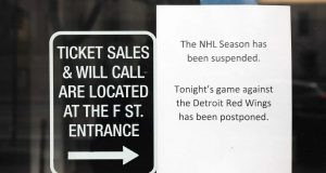 WASHINGTON, DC - MARCH 12: Signs outside read that the NHL Season has been suspended after the Detroit Red Wings against the Washington Capitals game was postponed due to the coronavirus at Capital One Arena on March 12, 2020 in Washington, DC. Today the NHL announced is has suspended their season due to the uncertainty of the coronavirus (COVID-19) with hopes of returning. The NHL currently joins the NBA, MLS, as well as, other sporting events and leagues around the world suspending play because of the coronavirus outbreak.