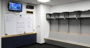 WASHINGTON, DC - MARCH 12: The visitors locker-room is empty after the Detroit Red Wings against the Washington Capitals game was postponed due to the coronavirus at Capital One Arena on March 12, 2020 in Washington, DC. Today the NHL announced is has suspended their season due to the uncertainty of the coronavirus (COVID-19) with hopes of returning. The NHL currently joins the NBA, MLS, as well as, other sporting events and leagues around the world suspending play because of the coronavirus outbreak.