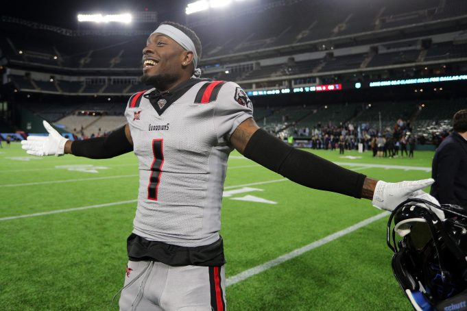 ARLINGTON, TEXAS - MARCH 07: Mekale McKay #1 of the New York Guardians dances on the field after a win over the Dallas Renegades at an XFL football game on March 07, 2020 in Arlington, Texas.